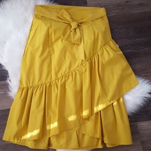 Mustard Color Midi Skirt